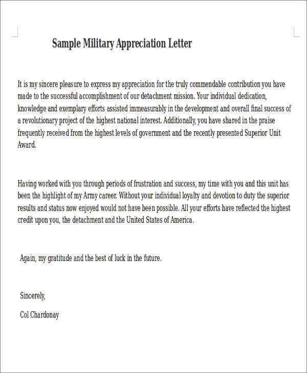50 appreciation letter samples sample templates military appreciation letter sample military appreciation letter spiritdancerdesigns Gallery