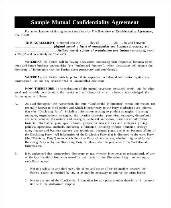 7 Mutual Confidentiality Agreements Sample Templates