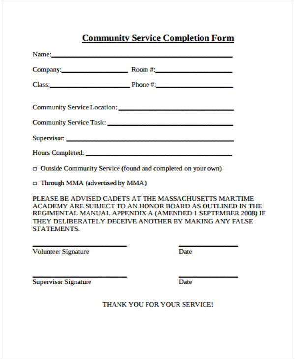 community service completion 21 service form formats pdf doc 16255 | Sample Service Completion Form Format PDF