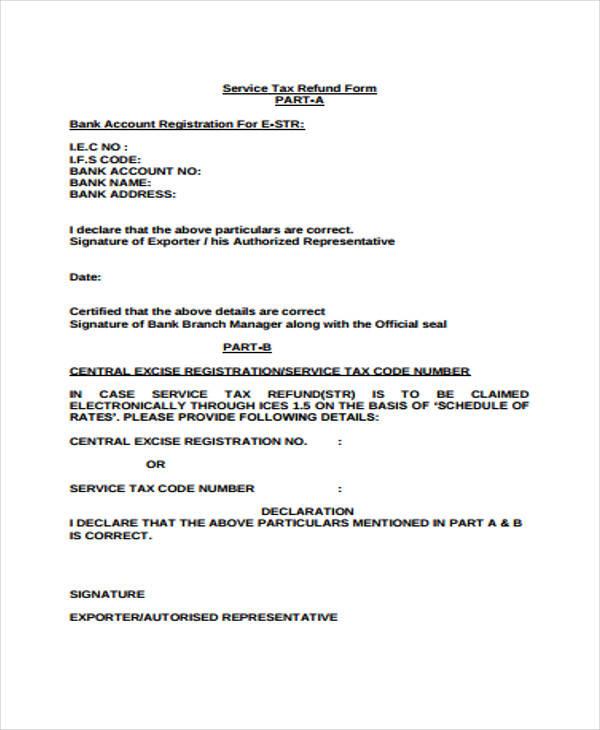 sample service tax form format pdf