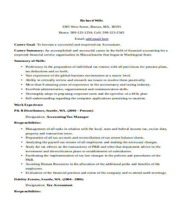 32+ Accountant Resume Samples | Sample Templates
