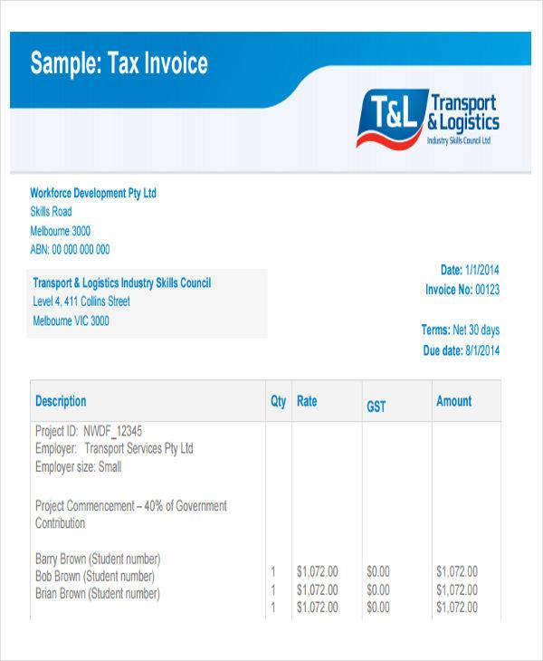 sample tax invoice