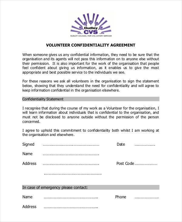 Volunteer Confidentiality Agreement  Free Sample Example