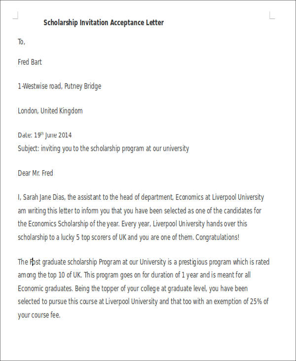 Example Letter Of Scholarship Application