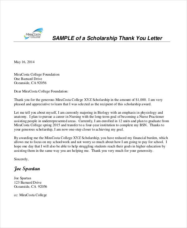 Scholarship Thank You Letter Sample  Empathy Letter Sample