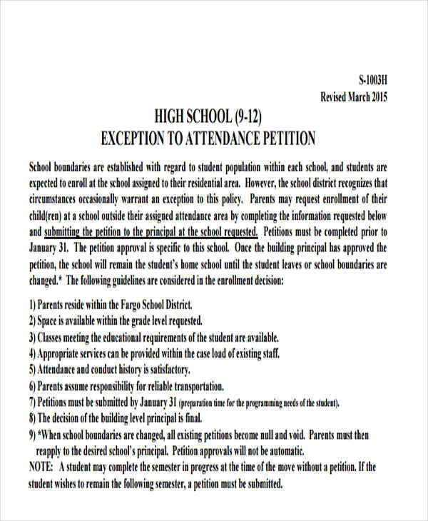 School Petition  Free Samples Examples Formats Download