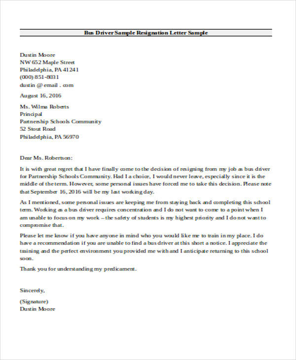 School Bus Driver Resignation Letter