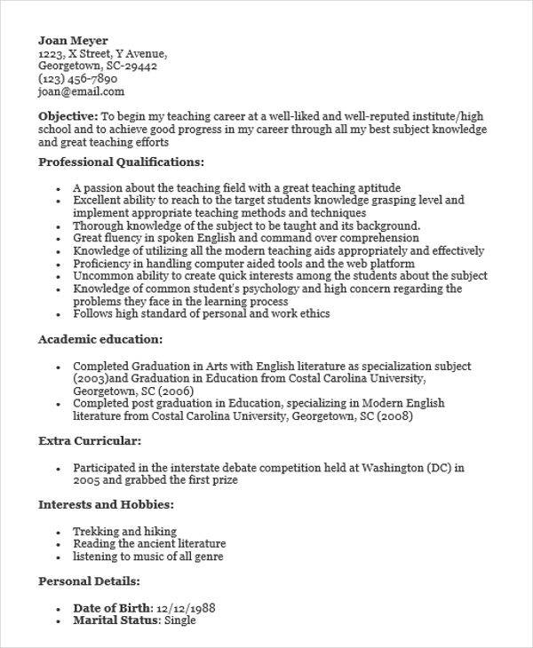 40 fresher resume examples