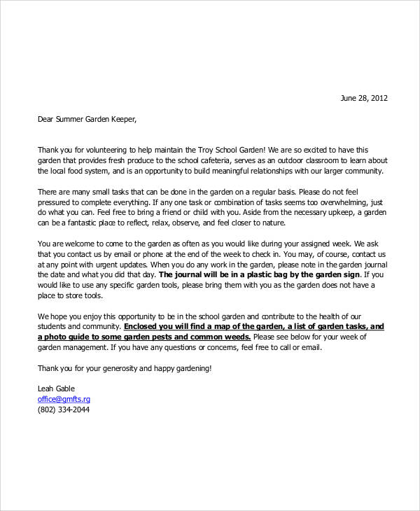 letter to volunteers