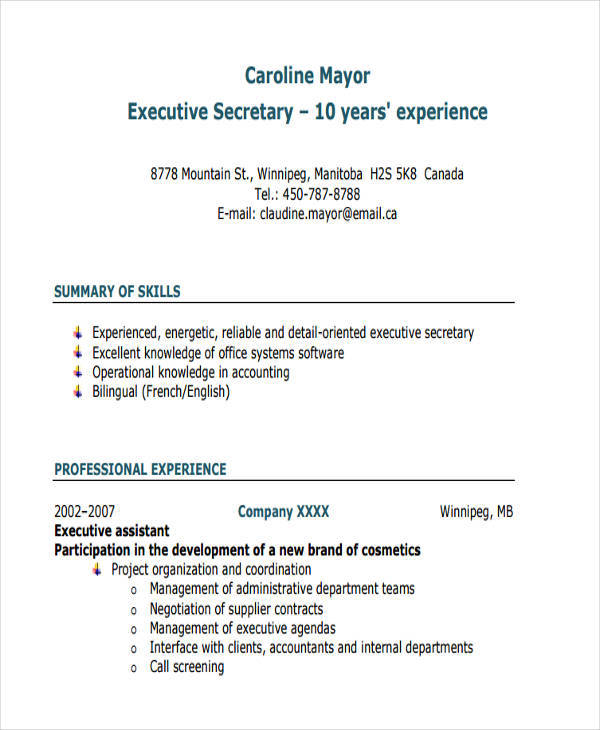 Executive Resumes In Pdf