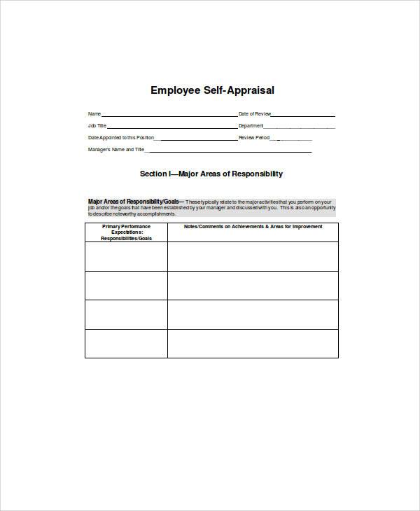self appraisal form sample1