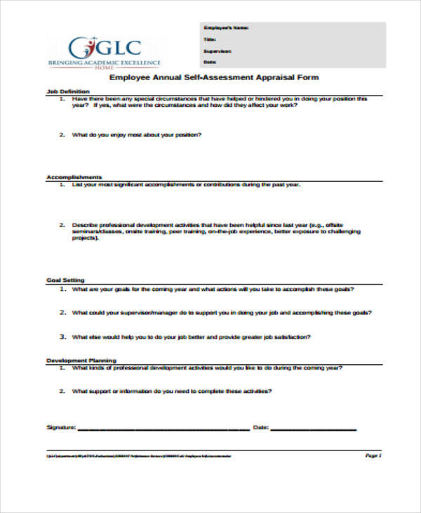 self assessment appraisal form