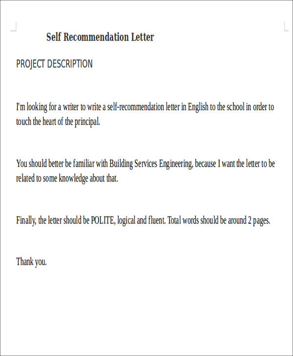 Self Recommendation Letter Sample   Examples In Word Pdf
