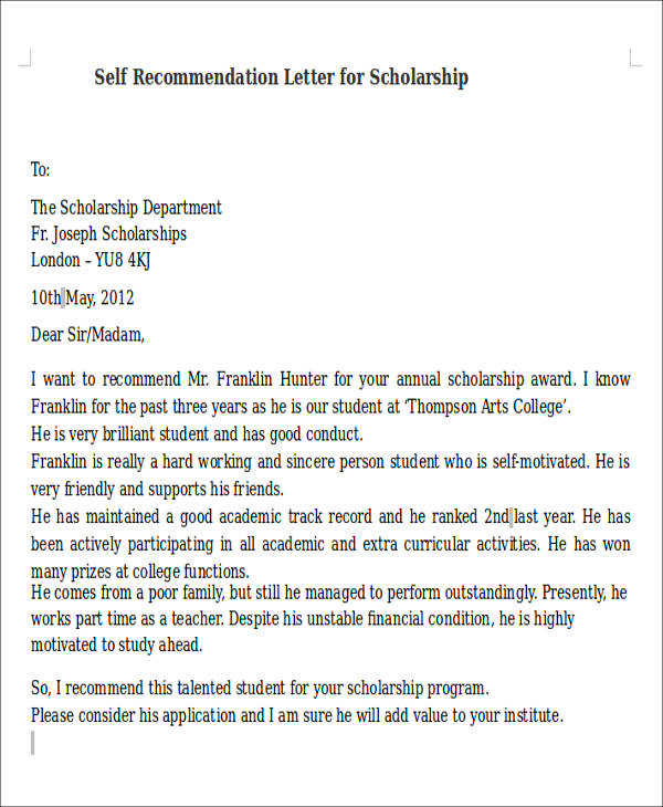8+ Self Recommendation Letter Samples   PDF, DOC