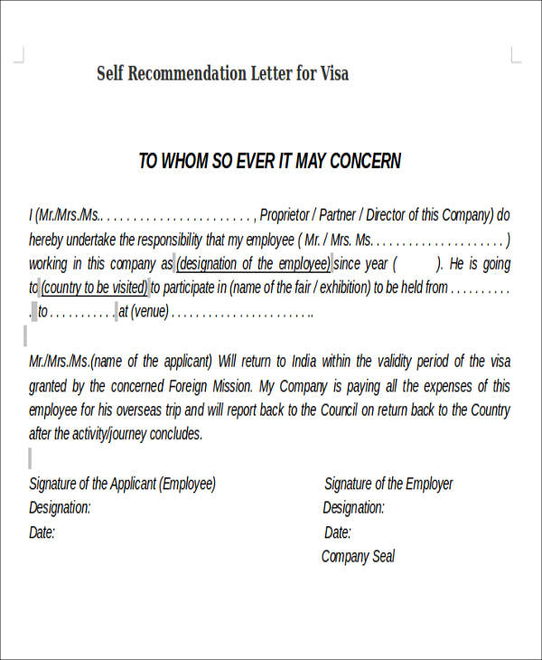 letter of recommendation for visa application