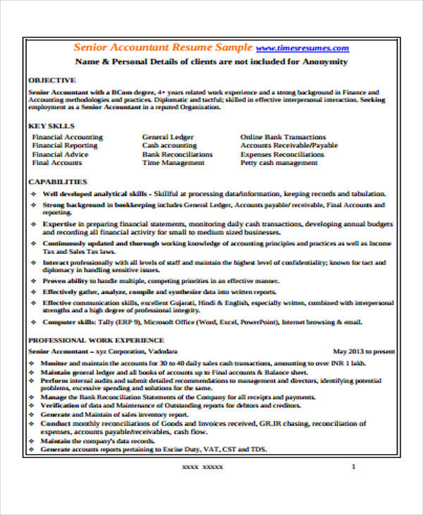 Senior Accountant Resume Pdf  Senior Accountant Resume