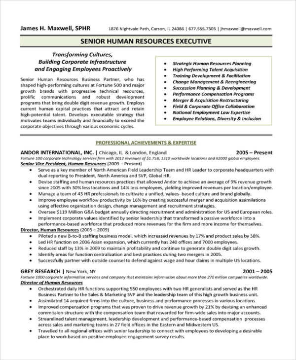 senior hr resume - Hr Resumes