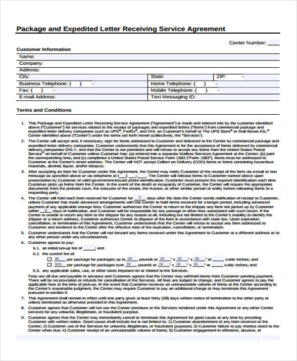 service agreement letter