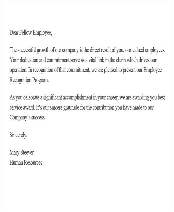 service award appreciation letter