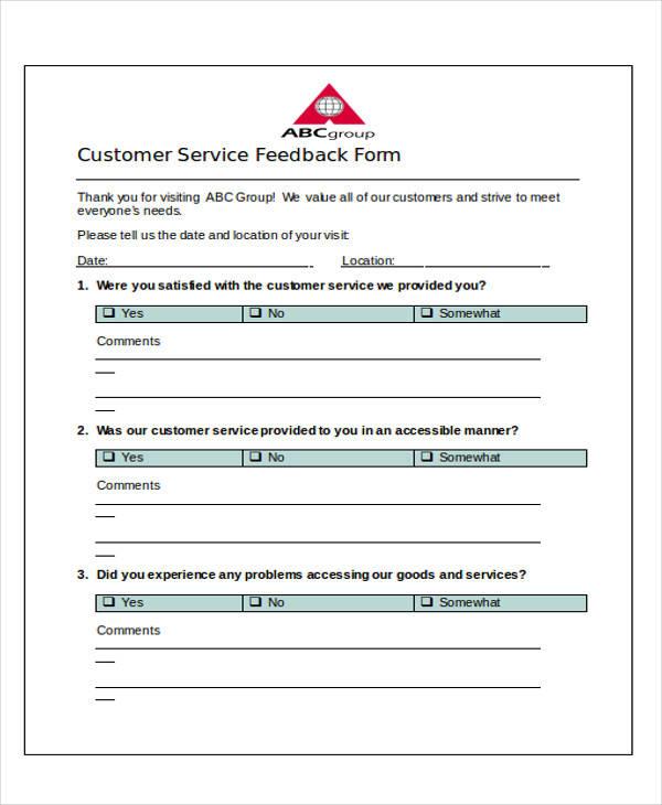 service feedback form format doc