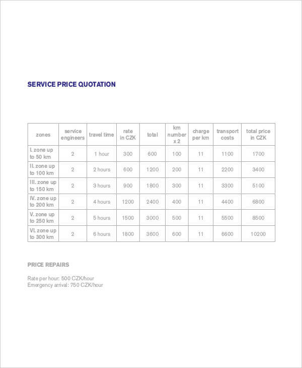 service price quotation1