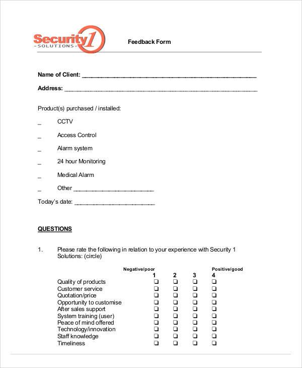 42 Sample Service Forms – Service Feedback Form