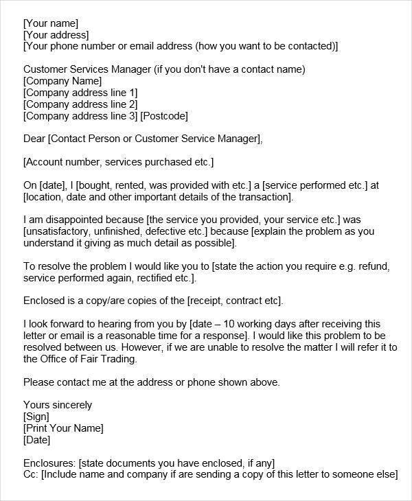 service related complaint letter