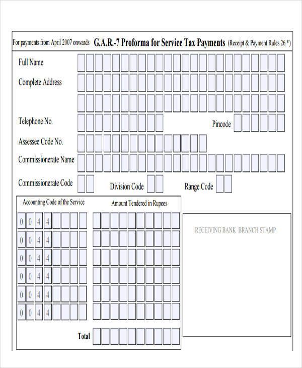 service tax receipt