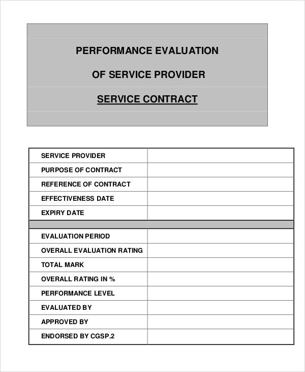 service provider evaluation form
