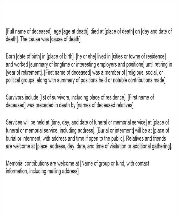 short obituary writing1
