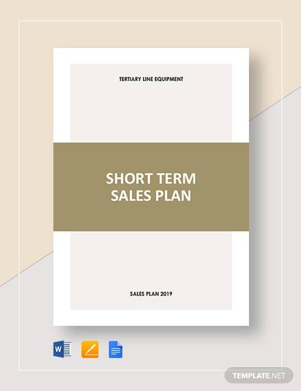 short term sales plan template