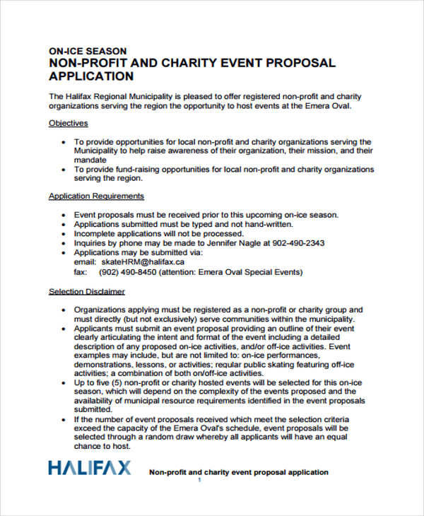 simple charity event proposal
