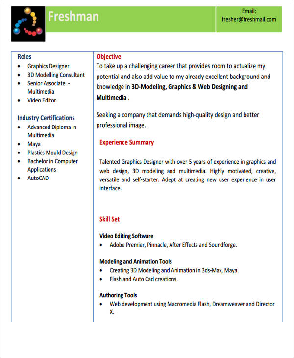 simple fresher resume format