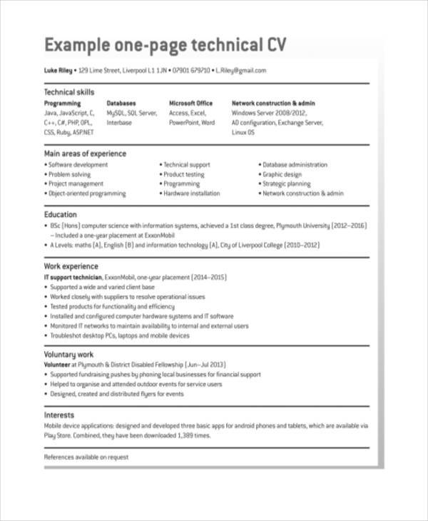 simple one page resume template modern one page resume template