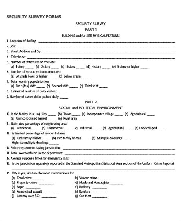 Printable Survey Form   Examples In Pdf Word