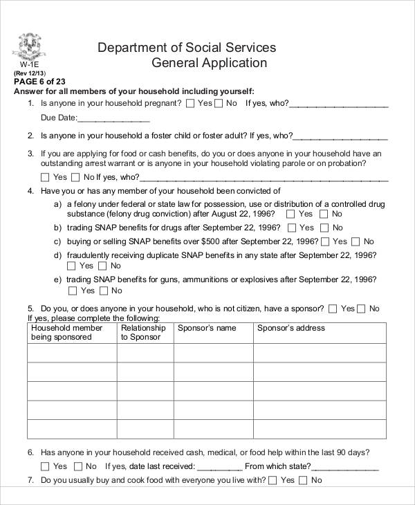 social service application form