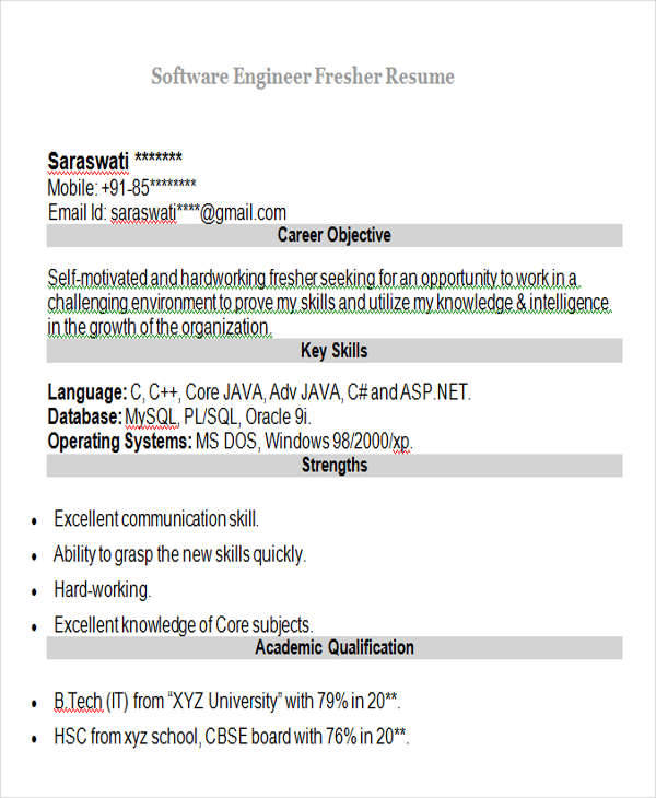 objective in resume for software engineer fresher buildbuzz info
