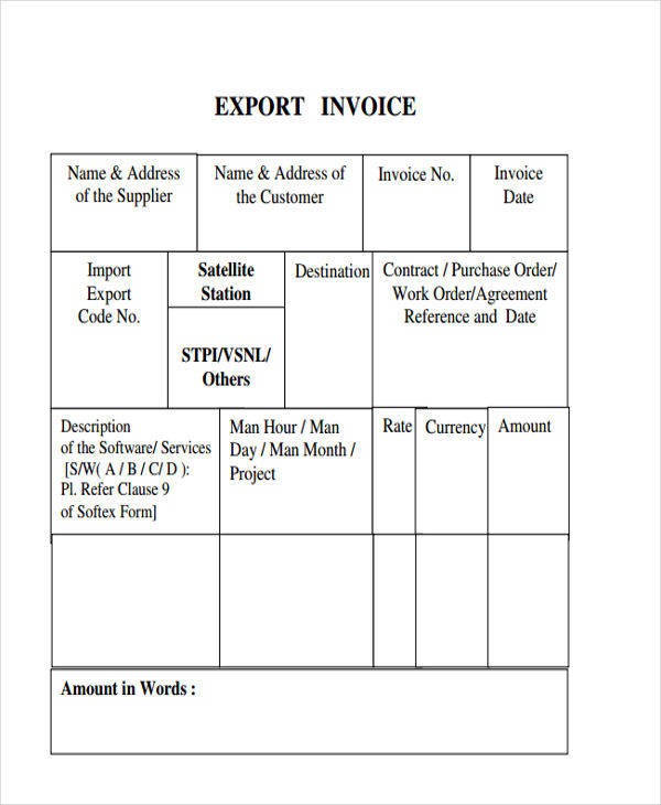 export invoice sample