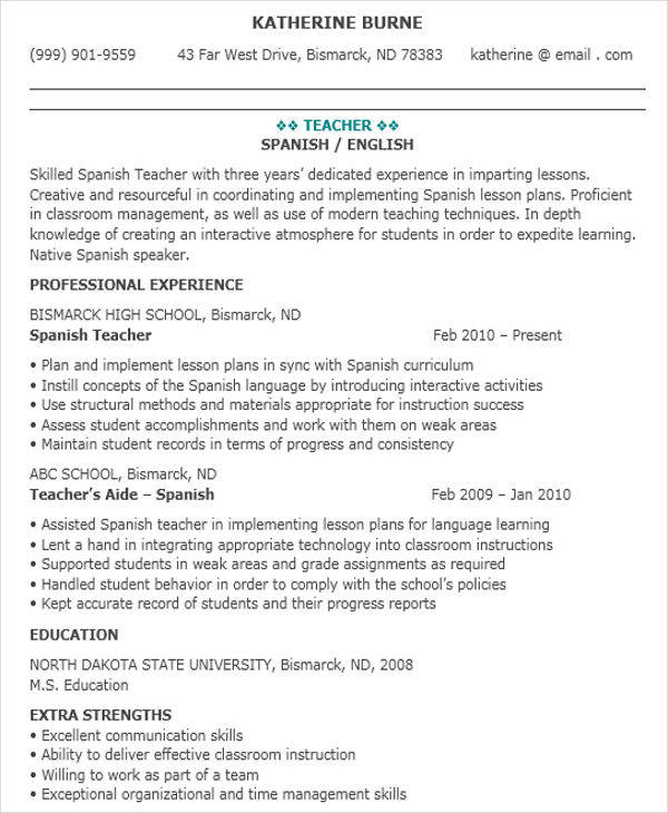 Spanish Language Teacher Resume