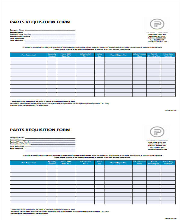 spare parts requisition form