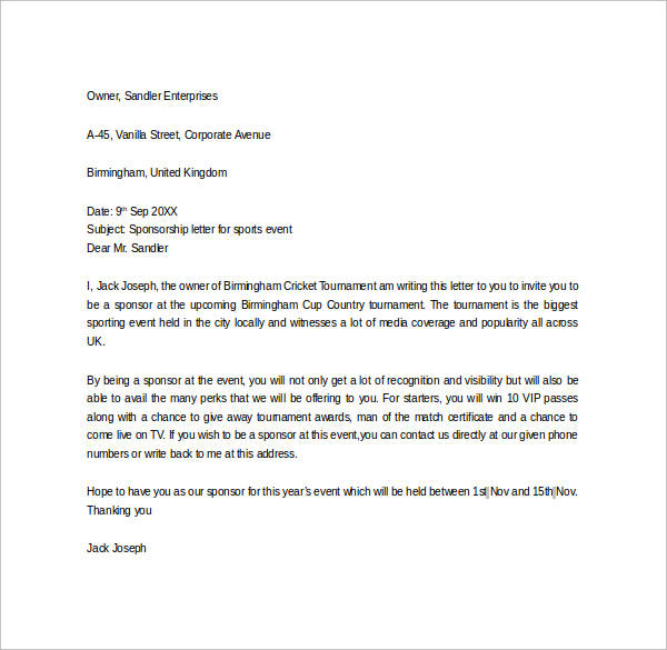 Corporate Sponsorship Letter Sponsorship Proposal Letter Template