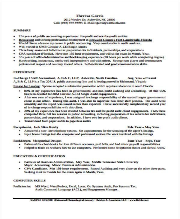 30+ Free Accountant Resumes | Sample Templates