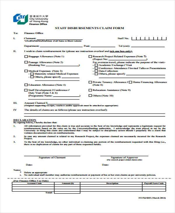 staff allowance claim form