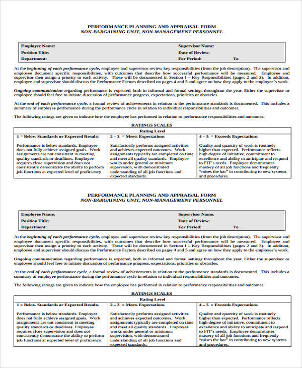 Appraisal Form Example Job Performance Evaluation Form Nursery