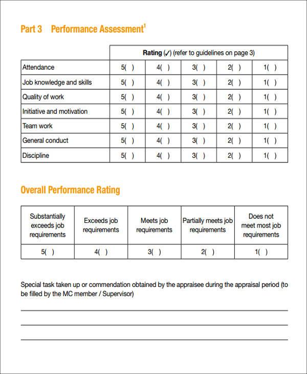 staff perfomance apraisal assessment form
