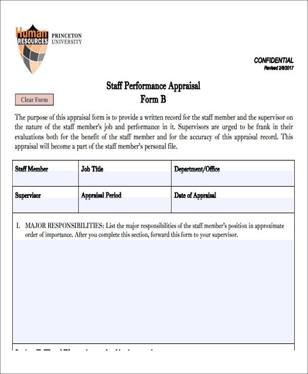staff performance apraisal assessment form example