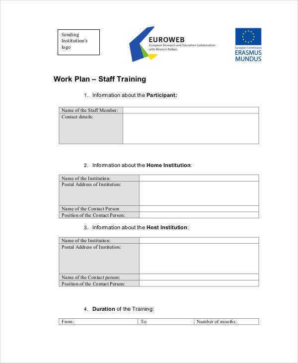 staff training work plan