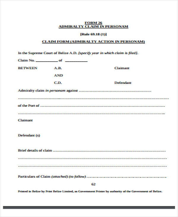 statement of truth claim form