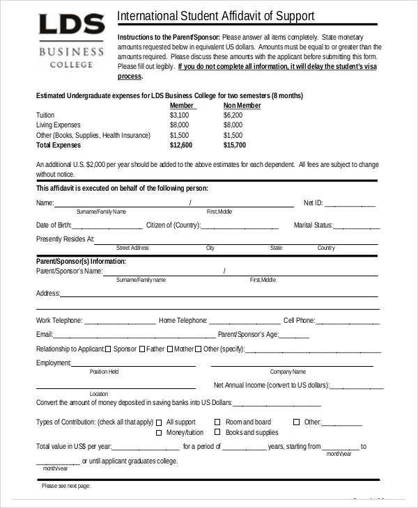student affidavit of support form