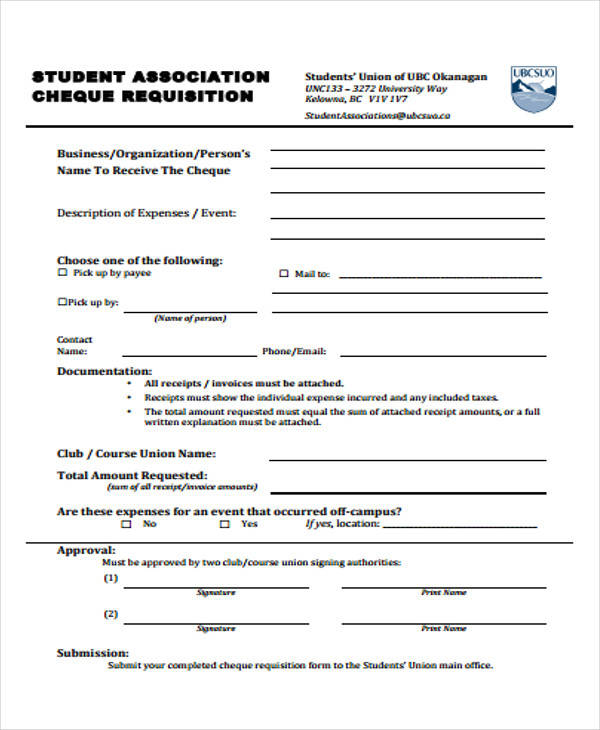 student cheque requisition form
